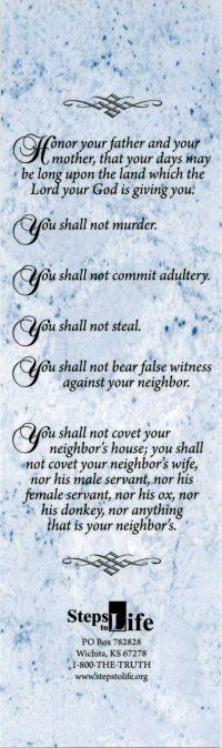 The Ten Commandments bookmark back