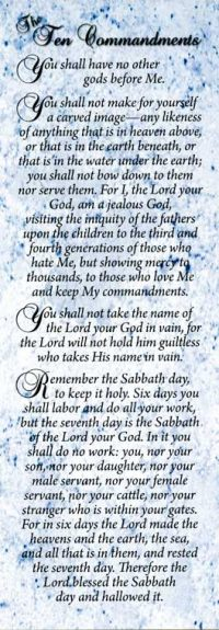 The 10 Commandments Bookmark