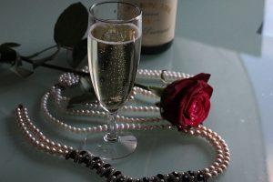 jewelry and wine glass